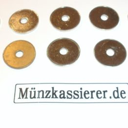 Münzkassierer.de Münzen Wertmarken Ø 26 x 2,3 Loch Ø 6mm. Münzkassierer