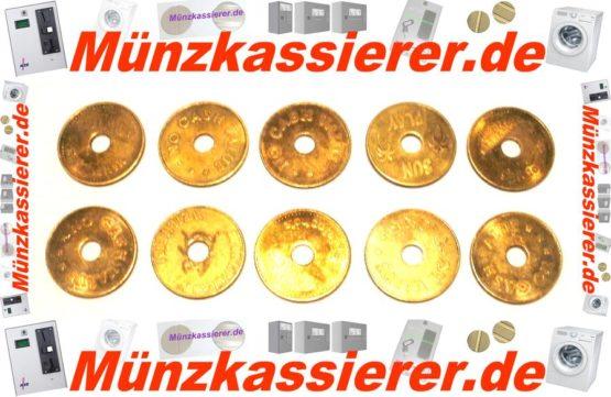 10 x Münzen Wertmarken Ø 26,8 x 1,8 Loch Ø 6mm.-Münzkassierer.de-3